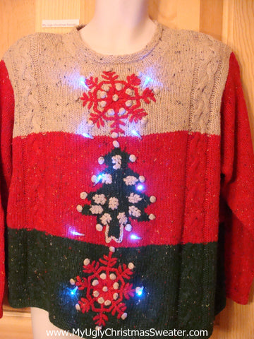 80s Padded Shoulders Light Up Ugly Christmas Sweater