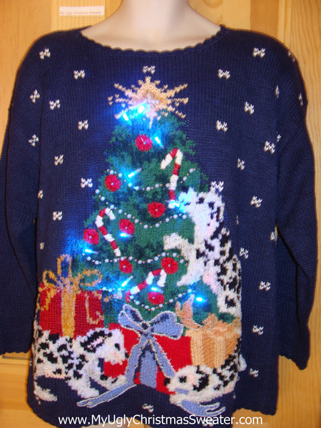 80s Light Up Ugly Christmas Sweater Dalmation Dogs