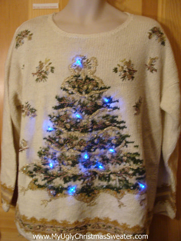 Light Up Ugly Christmas Sweater 80s with Huge Tree
