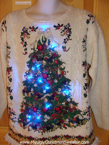 80s Light Up Ugly Christmas Sweater Tree Fringe