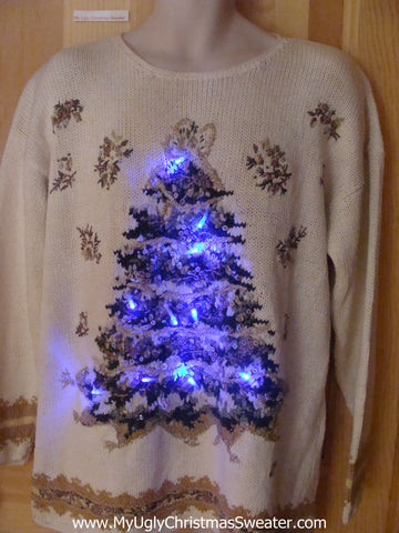 80s Light Up Ugly Christmas Sweater Huge Tree