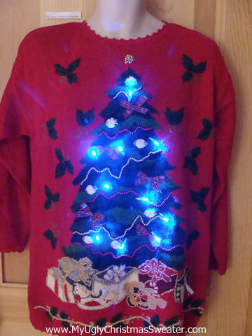 Red 80s Light Up Ugly Christmas Sweater Tree