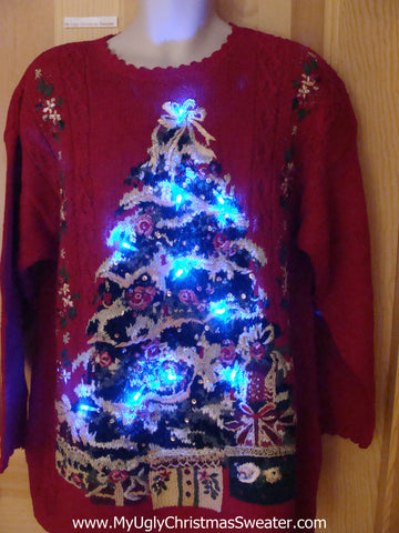 Light Up Ugly Christmas Sweater with Tree 80s