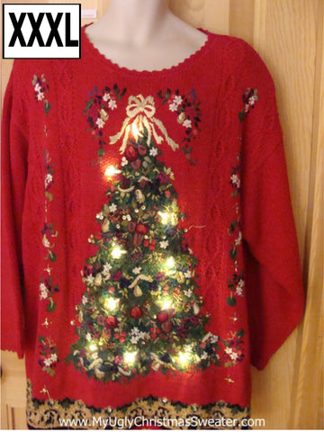 Light Up Ugly Christmas Sweater Wm or Mens 80s