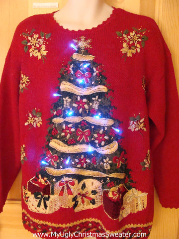 Light Up Ugly Christmas Sweater 80s with Hugl Tree