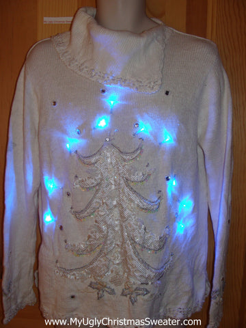 Ivory Light Up Ugly Christmas Sweater Tree 80s