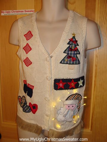 Tacky Ugly Christmas Sweater Vest. Craft Designs with Lights and Fringe (g43)