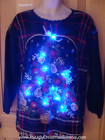 Holy Grail of Ugly Plaid Christmas Sweater with Lights