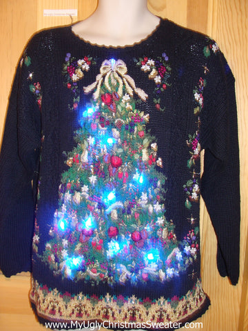80s Style Horrible Light Up Ugly Christmas Sweater
