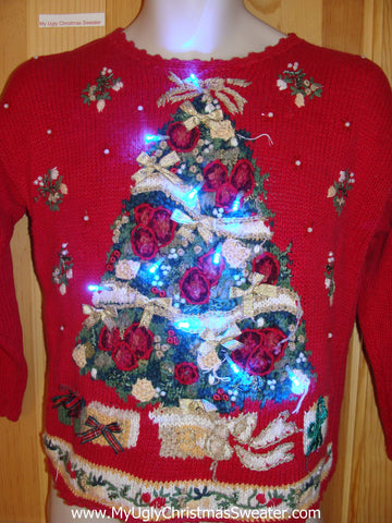 Light Up Ugly Christmas Sweater 80s Style Tree