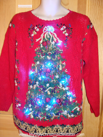 Light Up Red Ugly Christmas Sweater with 80s Tree