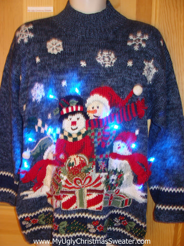 Light Up Ugly Christmas Sweater Festive Snowmen 80s