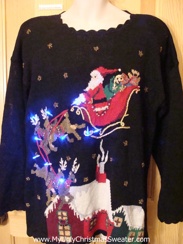 Reindeer and Santa 80s Light Up Ugly Christmas Sweater