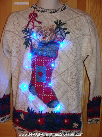Crazy Cat Lady Light Up Ugly Christmas Sweater