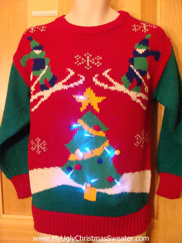 Vintage Ski Skiers 80s Light Up Ugly Christmas Sweater