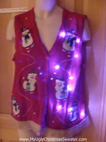 Tacky Ugly Christmas Sweater Vest with Lights and Fringe (g44)