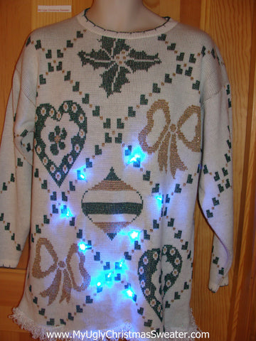 80s Light Up Ugly Christmas Sweater with fringe