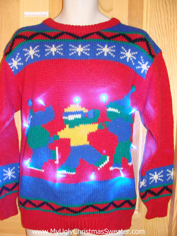 Vintage 80s Skaters Light Up Ugly Christmas Sweater