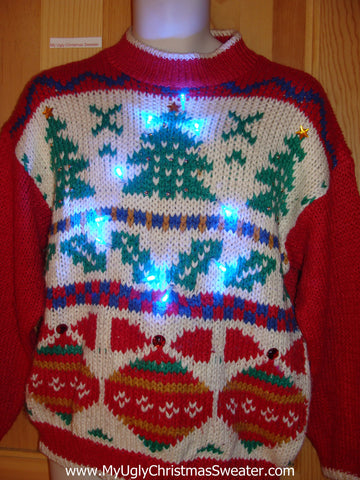 Light Up 80s Vintage Ugly Christmas Sweater
