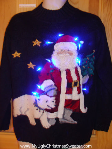 Amazing Santa and Pet Bear Light Up Ugly Christmas Sweater