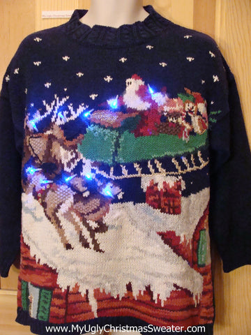 Reindeer and Santa Light Up Ugly Christmas Sweater