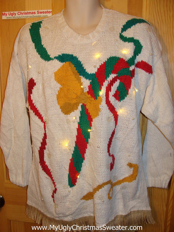 Tacky Ugly Christmas Sweater 80s Padded Shoulders. Giant Candycane with Lights and Fringe (g45)