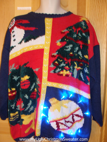 Mens Wms 80s Light Up Ugly Christmas Sweater