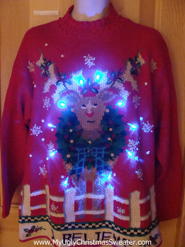 Reindeer 80s Light Up Ugly Christmas Sweater