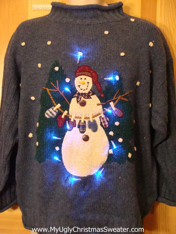 Snowman Laundry Light Up Ugly Christmas Sweater