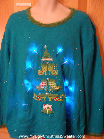Pointy Shoe Tree Light Up Ugly Christmas Sweater