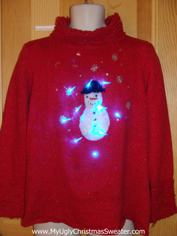 Red Light Up Ugly Christmas Sweater Snowman