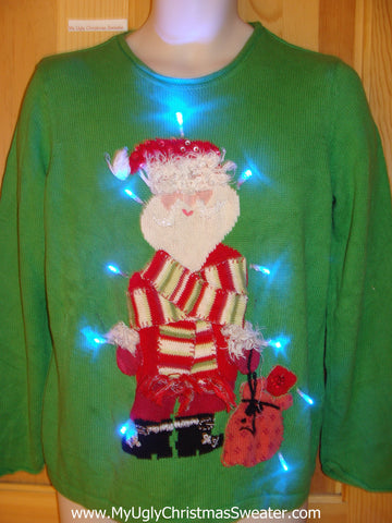 Green Light Up Ugly Christmas Sweater Santa and Scarf