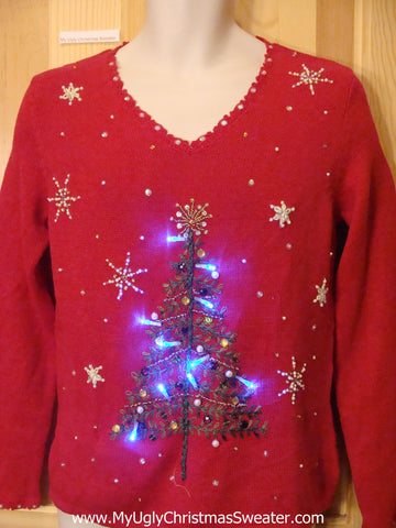 Red Light Up Ugly Christmas Sweater Tree