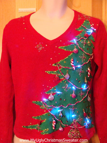 Tilty Tree Light Up Ugly Christmas Sweater