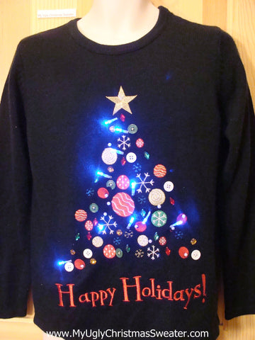 Button Bling Tree Light Up Ugly Christmas Sweater