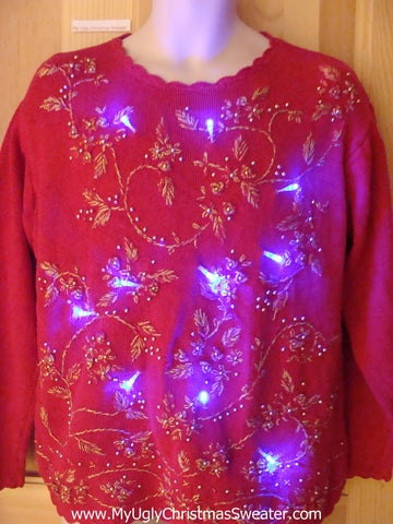Bling Red Light Up Ugly Christmas Sweater