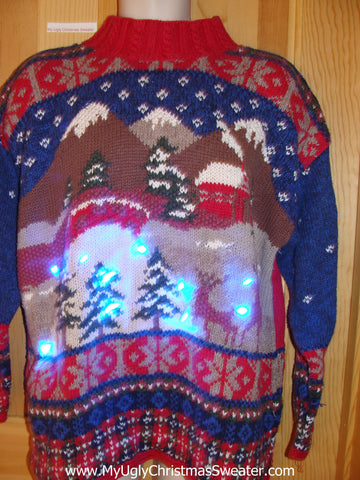 Reindeer Festive Light Up Ugly Christmas Sweater