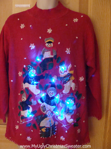 Pyramid Snowmen Light Up Ugly Christmas Sweater
