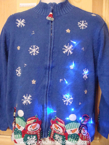 2sided Blue Light Up Ugly Christmas Sweater