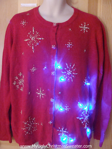 Bling Snowflake Light Up Ugly Christmas Sweater