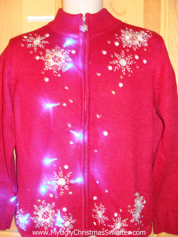 Bling Snowflakes Light Up Ugly Christmas Sweater