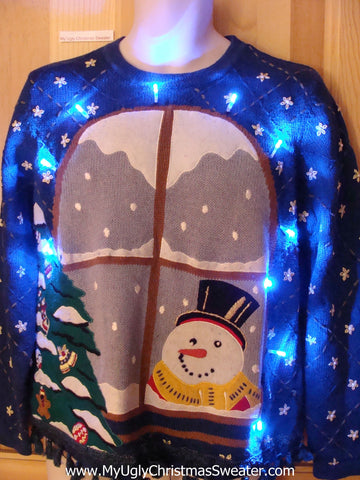 Snowman at Window Light Up Ugly Christmas Sweater