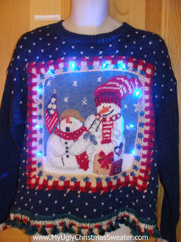 Patriotic Snowman Light Up Christmas Sweater