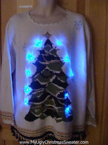 Light Up Ugly Christmas Sweater with Tree, Fringe
