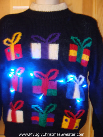 80s Light Up Ugly Christmas Sweater with Gifts