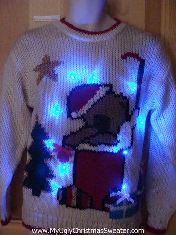 Light Up 80s Ugly Christmas Sweater Bear Stocking