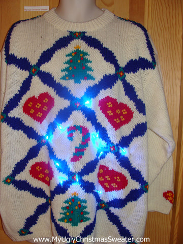 80s Light Up Ugly Christmas Sweater Hearts, Tree, Candycane