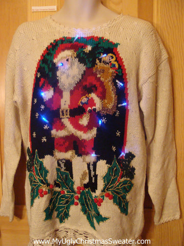 Light Up Ugly Christmas Sweater 80s Santa