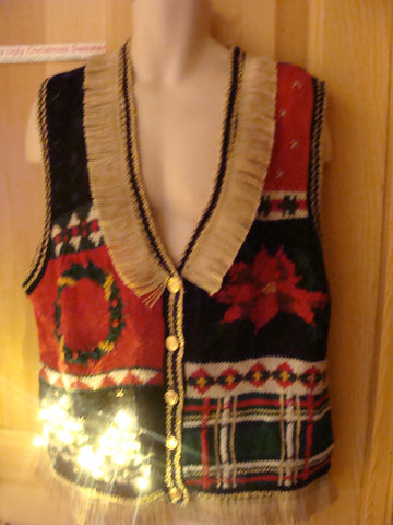 Tacky Ugly Christmas Sweater Vest with Lights and Fringe (g49)