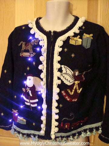 Tacky Ugly Christmas Sweater with Lights and Fringe. 80s Style with Padded Shoulders.  (g4)